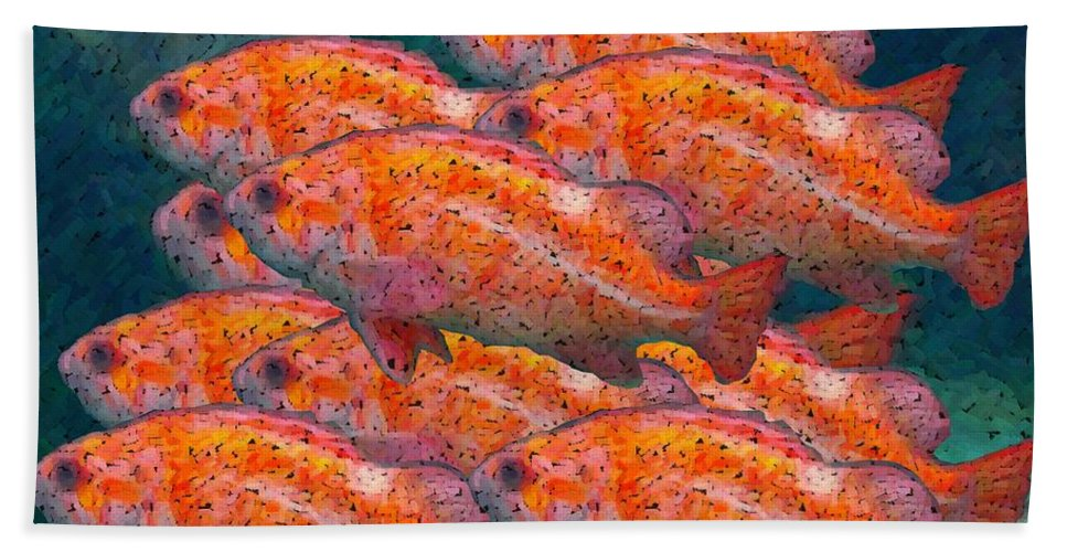 Fish Bath Towel featuring the digital art Small School by Ron Bissett