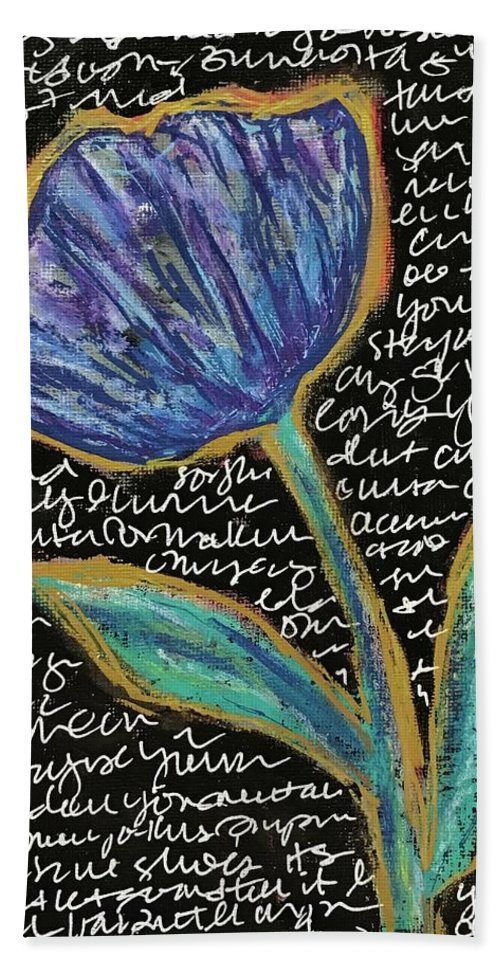 Flower Bath Sheet featuring the mixed media Small Talk by Suzanne Sicuranza