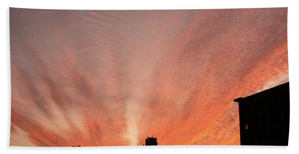 Sunset Bath Sheet featuring the photograph Small Town Sunset by Melissa Gregory