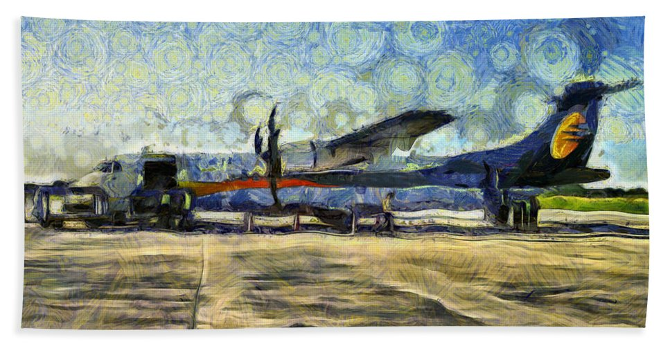 Jet Airlines Hand Towel featuring the photograph Small Turboprop Plane by Ashish Agarwal