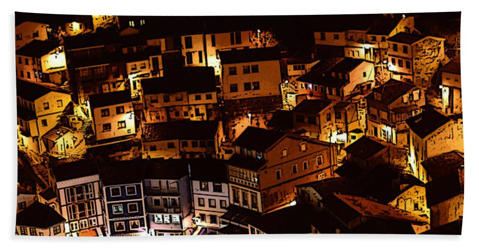 Lights Hand Towel featuring the photograph Small Village by Thomas M Pikolin