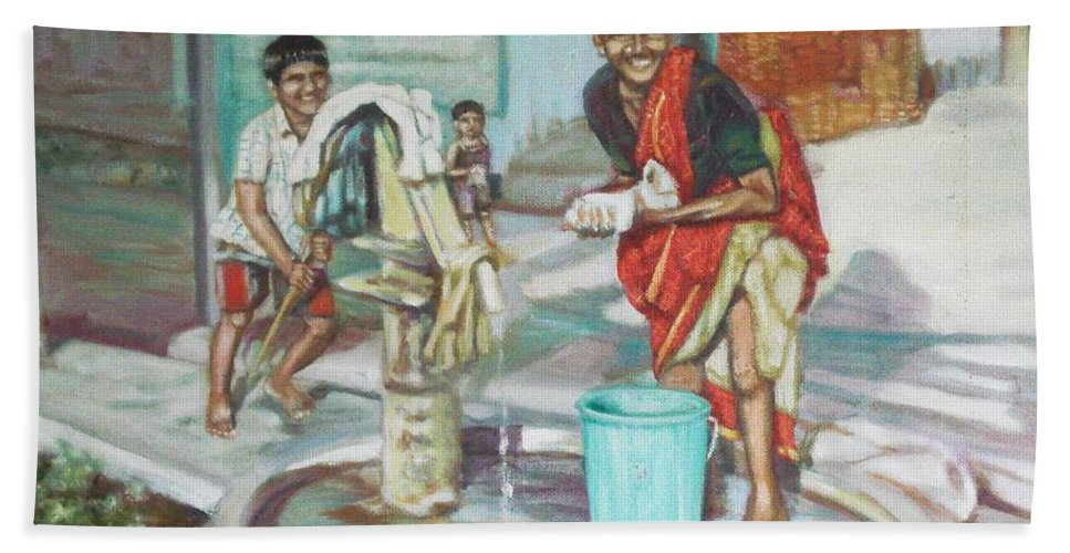 Usha Hand Towel featuring the painting Smile Plz by Usha Shantharam