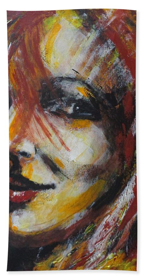Smile Bath Sheet featuring the painting Smile - Portrait Of A Woman by Carmen Tyrrell