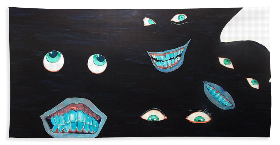 Conceptual Hand Towel featuring the painting Smiles by Lazaro Hurtado