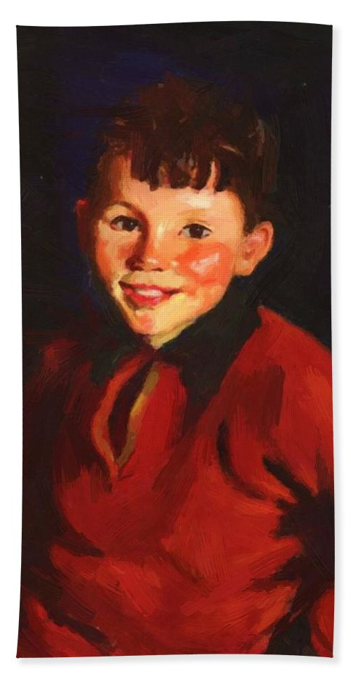 Smiling Bath Sheet featuring the painting Smiling Tom Thomas Cafferty 1924 by Henri Robert