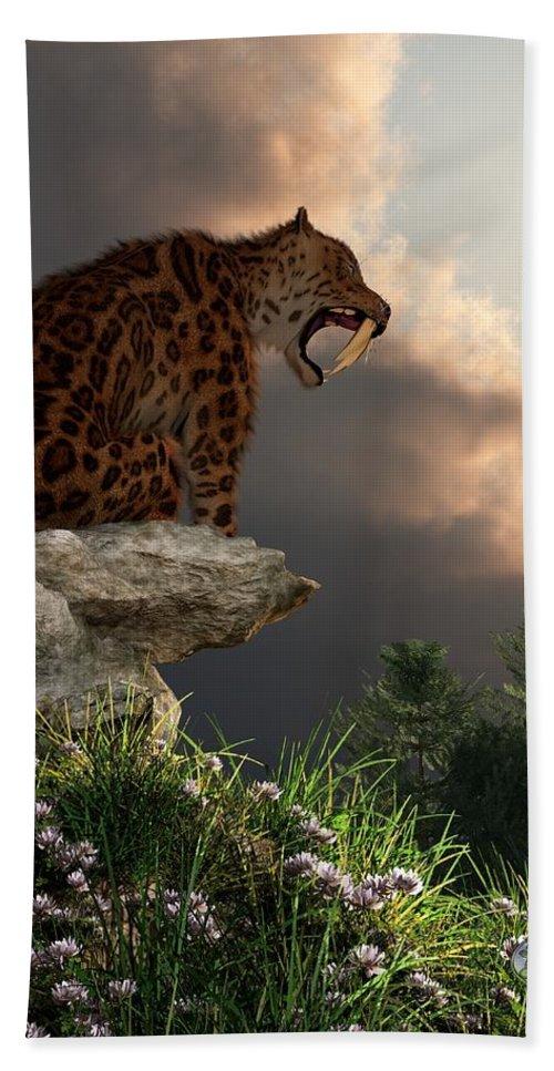 Extinct Hand Towel featuring the digital art Smilodon Californicus Lookout by Daniel Eskridge