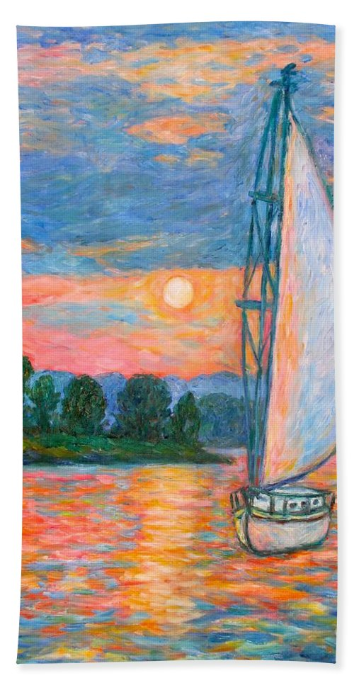 Kendall Kessler Hand Towel featuring the painting Smith Mountain Lake by Kendall Kessler