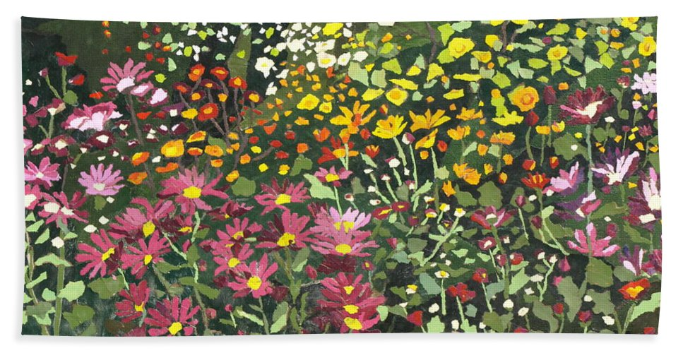 Floral Bath Sheet featuring the painting Smith Mums by Leah Tomaino