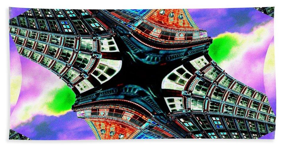 Seattle Hand Towel featuring the digital art Smith Tower Fractal by Tim Allen