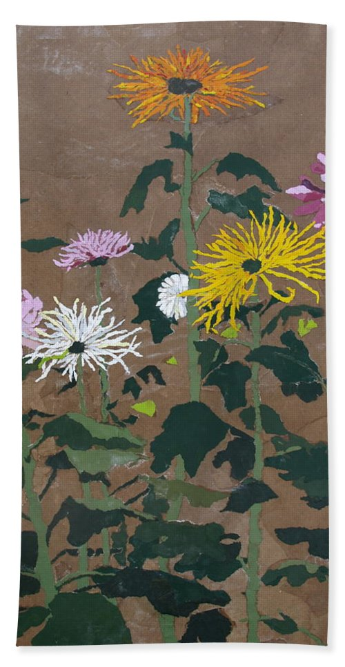 Collage Bath Towel featuring the painting Smith's Giant Chrysanthemums by Leah Tomaino