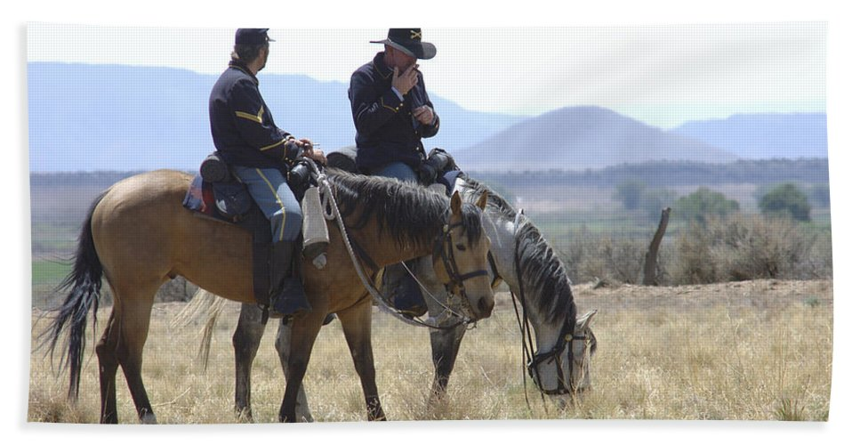 Cowboys Bath Sheet featuring the photograph Smoke Break by Jerry McElroy