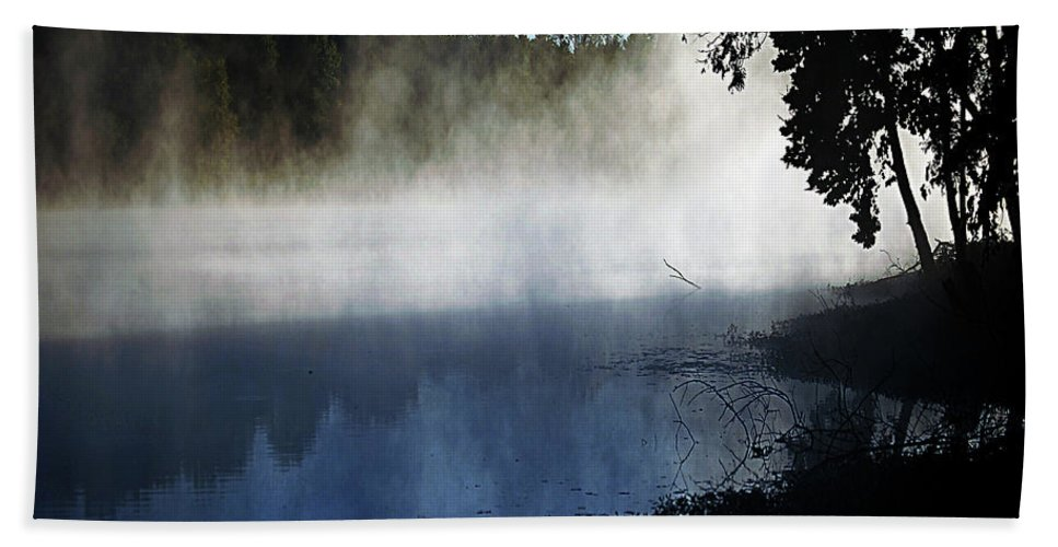 Smoke Hand Towel featuring the digital art Smoke On The Water by DigiArt Diaries by Vicky B Fuller