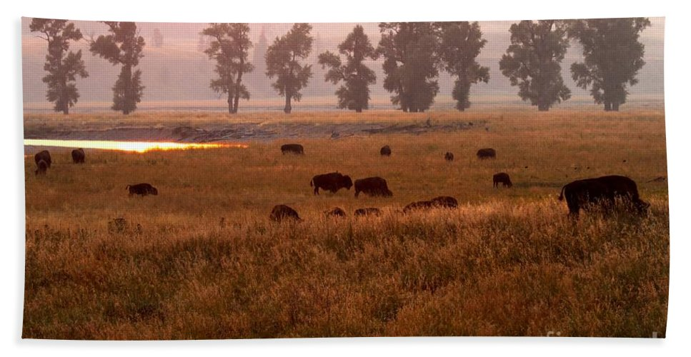 Lamar Valley Sunset Hand Towel featuring the photograph Smoke Over Lamar Valley by Adam Jewell