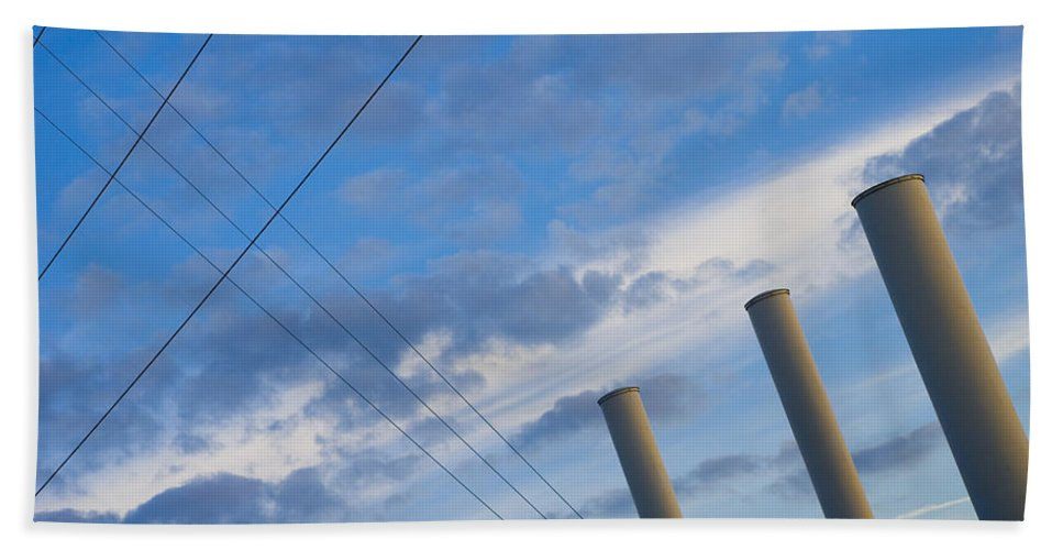 Blue Bath Towel featuring the photograph Smoke Stax by Skip Hunt