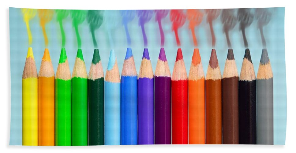 Colored Pencils. Smoke Bath Sheet featuring the photograph Smoked Colors by Billy Soden