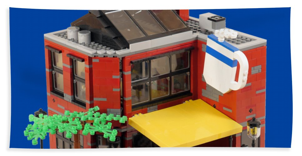 Coffee Bath Sheet featuring the photograph Smokestacks Coffee House - Lego Building by Brian Lyles