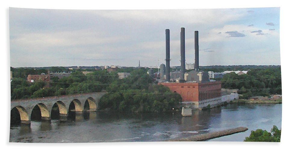 Minneapolis Hand Towel featuring the photograph Smokestacks On The Mississippi by Tom Reynen
