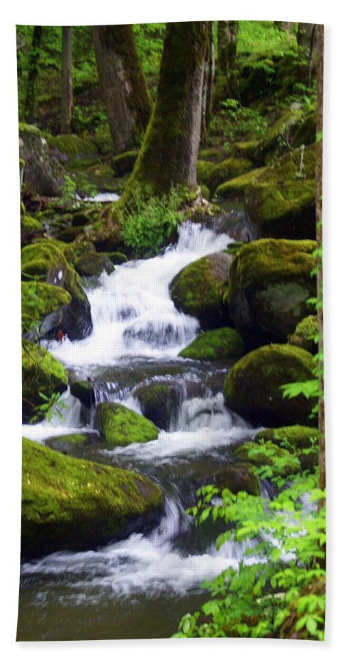 Great Smokey Mountains National Park Hand Towel featuring the photograph Smokey Mountain Stream by Marty Koch