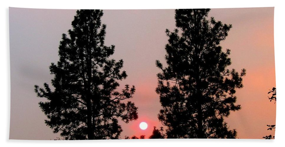 Smoke Hand Towel featuring the photograph Smokey Okanagan Sunset by Will Borden