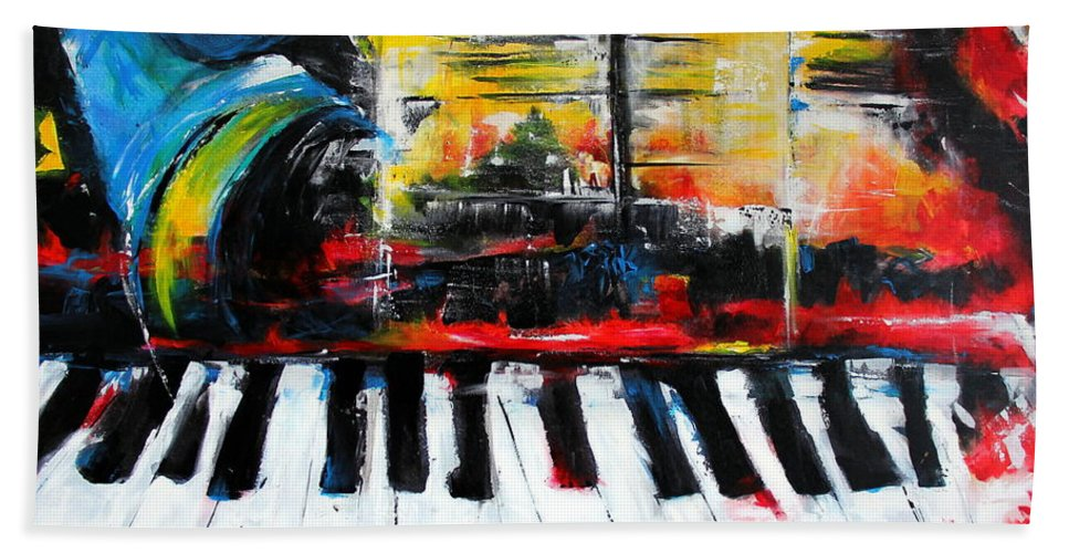 Music Bath Sheet featuring the painting Smokin Ivory II by Cheryl Ehlers