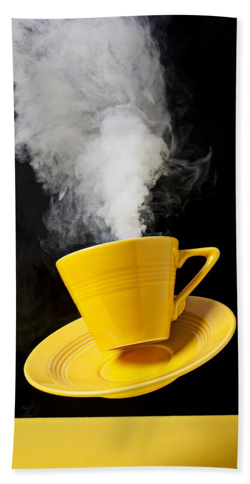 Yellow Cup Bath Sheet featuring the photograph Smoking Hot Coffee by Garry Gay