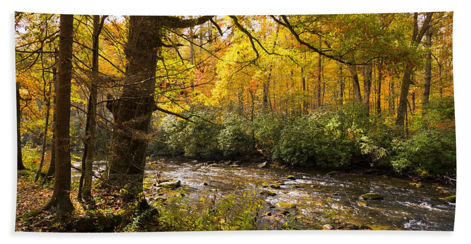 Appalachia Bath Sheet featuring the photograph Smoky Autumn by Debra and Dave Vanderlaan