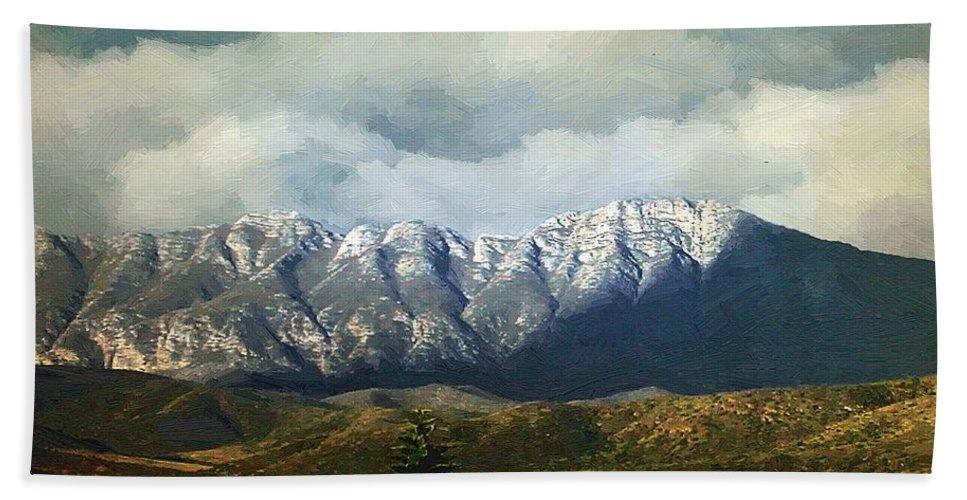 Landscape Bath Sheet featuring the painting Smoky Clouds On A Thursday by RC DeWinter