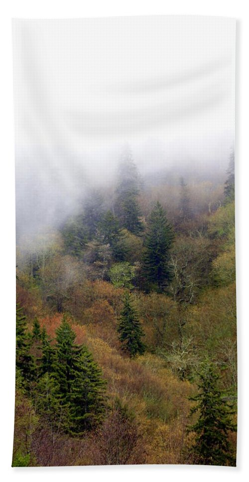 Fog Bath Sheet featuring the photograph Smoky Mount Vertical by Marty Koch