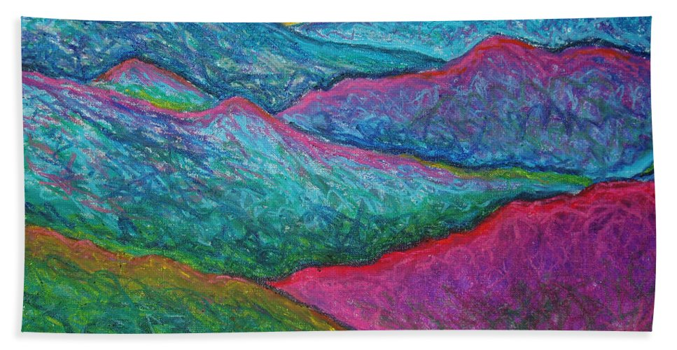 Oil Pastels Bath Towel featuring the painting Smoky Mountain Abstract by Nancy Mueller