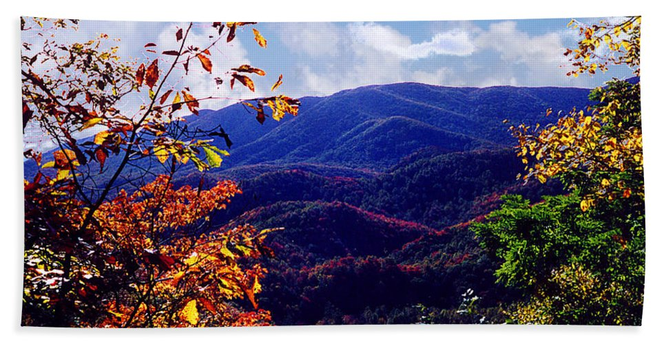 Mountain Bath Sheet featuring the photograph Smoky Mountain Autumn View by Nancy Mueller