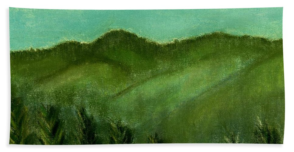 Trees Bath Sheet featuring the painting Smoky Mountains by Melvin Moon