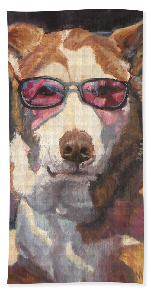 Dog Hand Towel featuring the painting Smooth Operator by Michelle Murphy-Ferguson