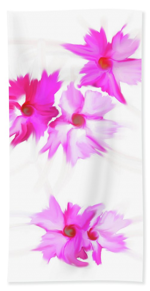 Floating Bath Sheet featuring the digital art Smudged Floating Pink Flowers by Heather Joyce Morrill