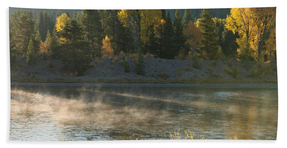 Grand Teton Hand Towel featuring the photograph Snake River Sunrise by Sandra Bronstein