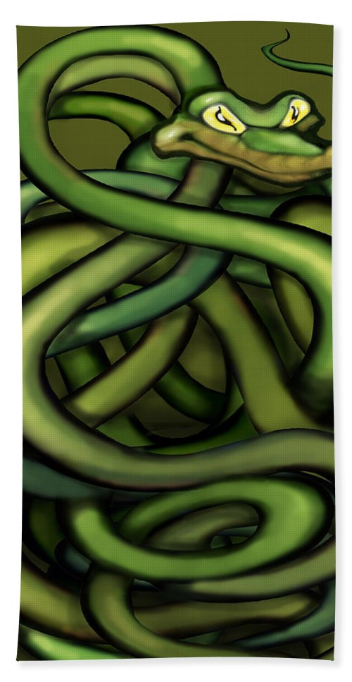 Snake Bath Sheet featuring the painting Snakes by Kevin Middleton