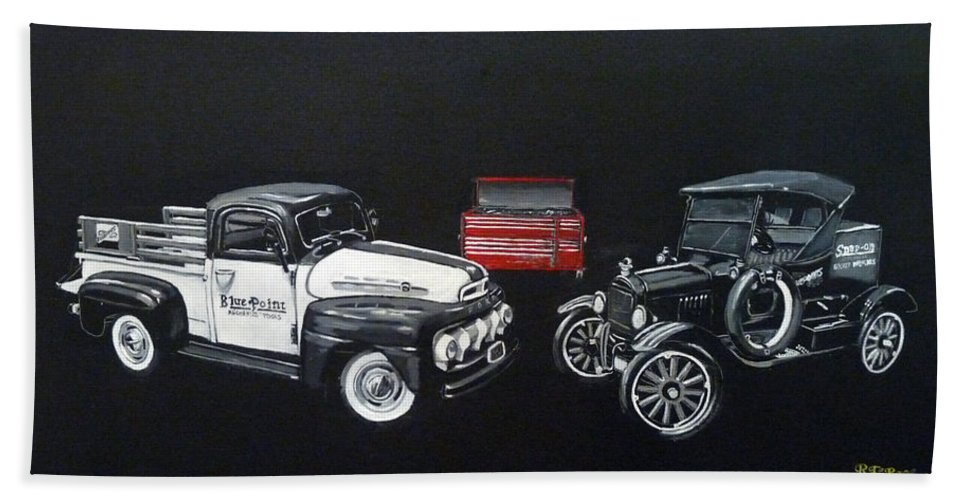 Trucks Hand Towel featuring the painting Snap-on Ford Trucks by Richard Le Page