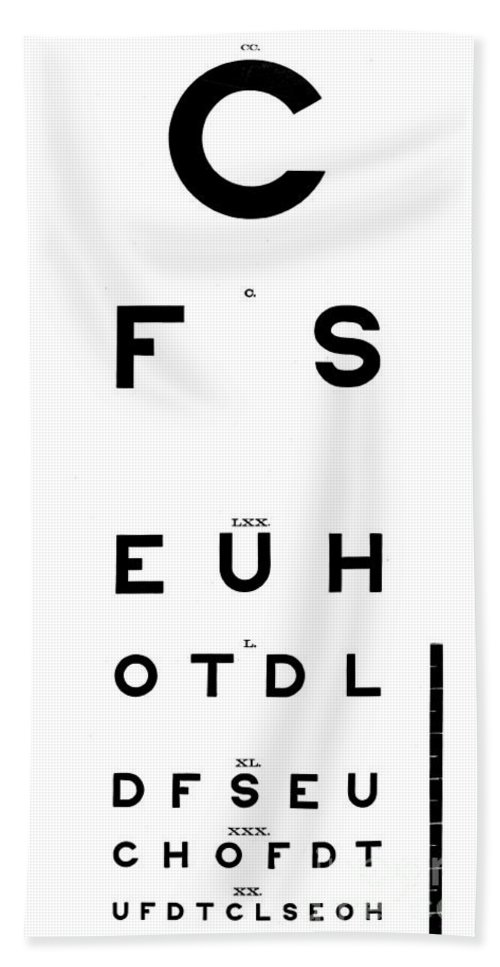Historic Hand Towel featuring the photograph Snellens Standard Eye Chart, 1882 by Wellcome Images