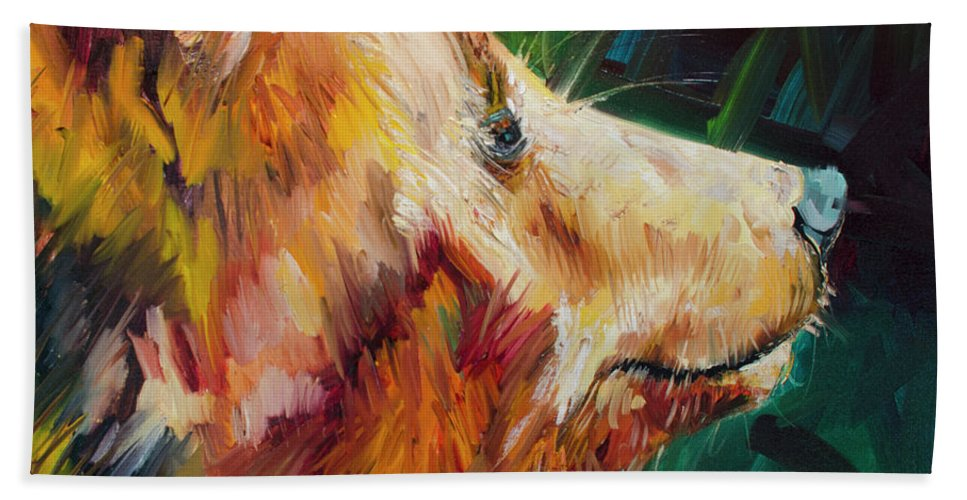 Bear Art Bath Towel featuring the painting Sniff Bear by Diane Whitehead