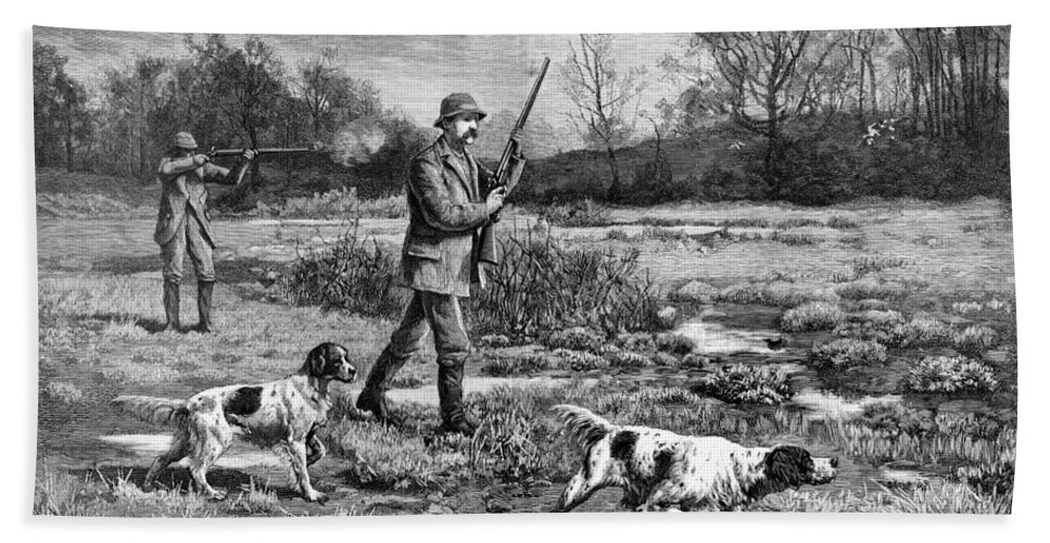1886 Bath Sheet featuring the photograph Snipe Hunters, 1886 by Granger