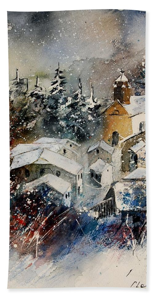 Landscape Hand Towel featuring the painting Snon In Frahan by Pol Ledent