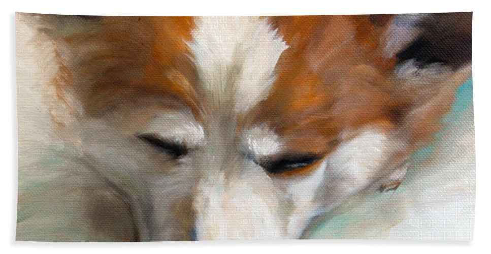Art Bath Sheet featuring the painting Snooze by Mary Sparrow