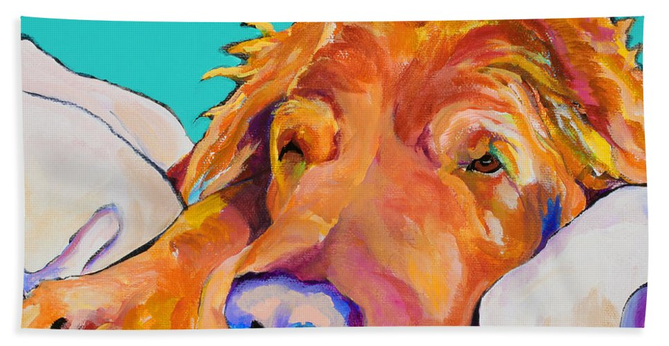 Dog Poortraits Bath Sheet featuring the painting Snoozer King by Pat Saunders-White