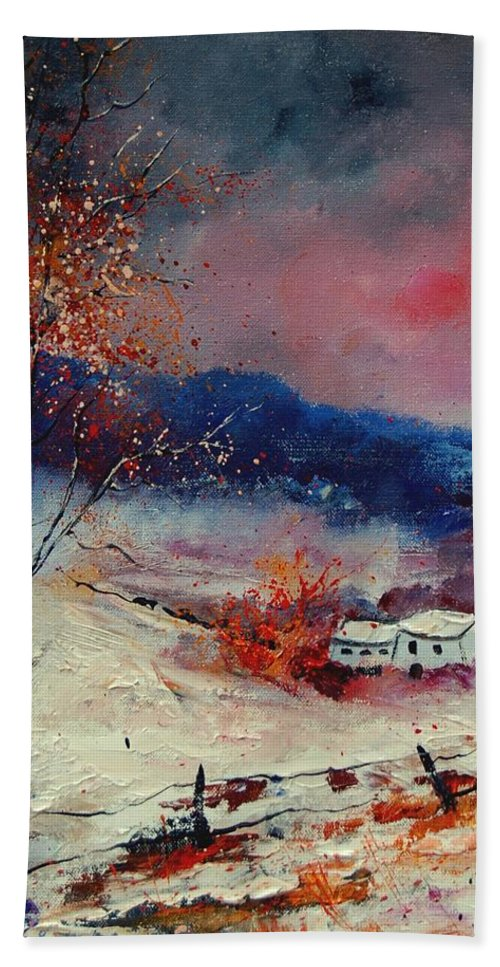 Winter Hand Towel featuring the painting Snow 569020 by Pol Ledent