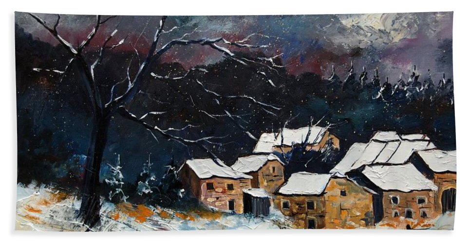 Snow Bath Towel featuring the painting Snow 57 by Pol Ledent