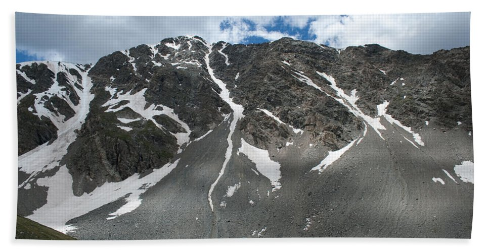 Mountains Bath Sheet featuring the photograph Snow And Rock by Angus Hooper Iii