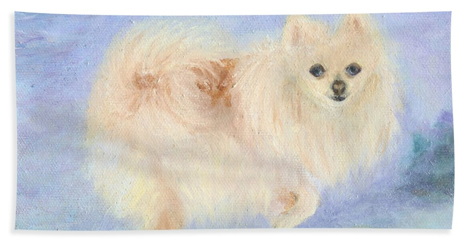 Dog Hand Towel featuring the painting Snow Angel by Paula Emery