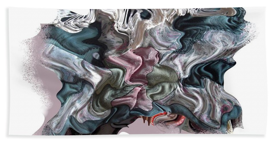Abstract Bath Towel featuring the digital art Snow Capped Cloth by Ron Bissett