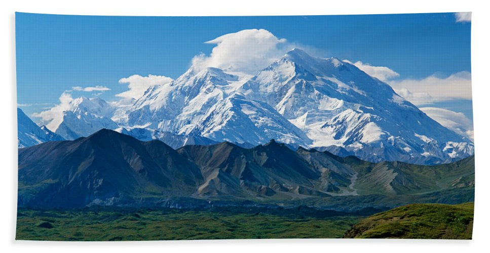 Photography Bath Sheet featuring the photograph Snow-covered Mount Mckinley, Blue Sky by Panoramic Images