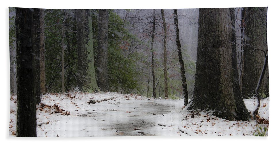 Snow Hand Towel featuring the photograph Snow Covered Path Quantico National Cemetery by Teresa Mucha