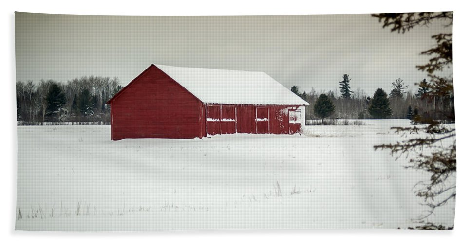 Snow Bath Sheet featuring the photograph Snow Covered Red Barn by Patrick Shupert